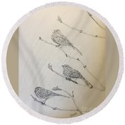 Feathers Friends Round Beach Towel
