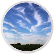 Feathers In Blue Sky Round Beach Towel