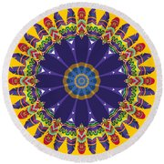 Feathers In The Round Round Beach Towel by Mary Machare