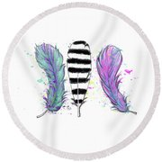 Round Beach Towel featuring the digital art Feathers by Lizzy Love