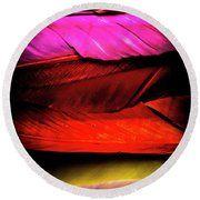Feathers Of Rainbow Color Round Beach Towel