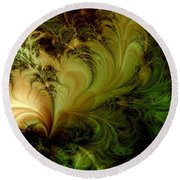 Feathery Fantasy Round Beach Towel by Casey Kotas