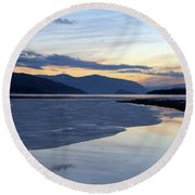 February At Dusk 5 Round Beach Towel by Victor K
