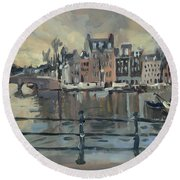 February Morning Along The Amstel Round Beach Towel