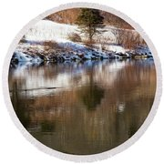 Round Beach Towel featuring the photograph February Reflections by Karol Livote