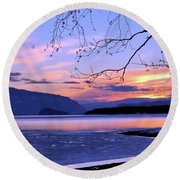 February Sunset 2 Round Beach Towel by Victor K