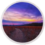 Round Beach Towel featuring the photograph February Sunset And Path At Retzer Nature Center by Jennifer Rondinelli Reilly - Fine Art Photography