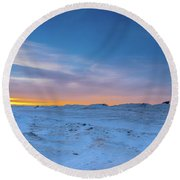 February Sunset Round Beach Towel