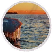 Feburary Sunset Cape Vincent Round Beach Towel