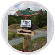 Round Beach Towel featuring the photograph Feed The Trout by Suzanne Gaff