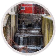 Feeder Canal Lock 13 Round Beach Towel