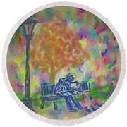 Round Beach Towel featuring the painting Feeding The Birds by Kevin Caudill