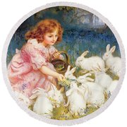 Feeding The Rabbits Round Beach Towel by Frederick Morgan