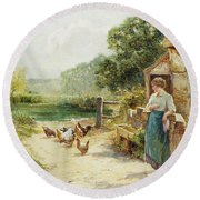 Feeding Time Round Beach Towel by Ernest Walbourn