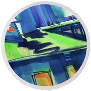 Round Beach Towel featuring the painting Feedmill In Blue And Green by Kathy Braud