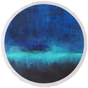 Feeling Blue Round Beach Towel by Nicole Nadeau