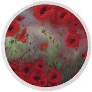 Feeling Poppy Round Beach Towel