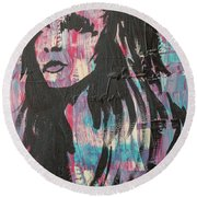 Round Beach Towel featuring the painting Feeling Remains Even After The Glitter Fades by Jayime Jean