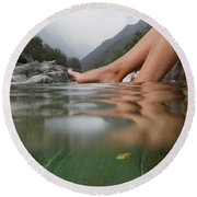 Feet On The Water Round Beach Towel