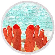 Feets Don't Fail Me Now Round Beach Towel