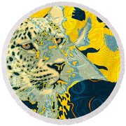 Round Beach Towel featuring the digital art Feline Looks by Zedi