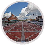 Fells Point Pier Round Beach Towel by Suzanne Stout