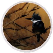 Round Beach Towel featuring the digital art Female Belted Kingfisher 2 by Ernie Echols