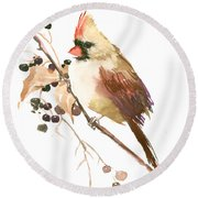 Female Cardinal Bird Round Beach Towel by Suren Nersisyan
