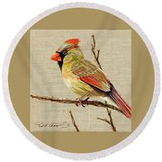 Female Cardinal Round Beach Towel by Bob Coonts