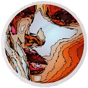 Female Expressions Viii Round Beach Towel