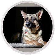 Female German Shepherd Round Beach Towel