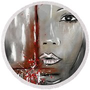 Female Half Face On Grey Abstract Round Beach Towel