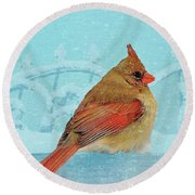 Round Beach Towel featuring the photograph Female Northern Cardinal In Winter by Janette Boyd