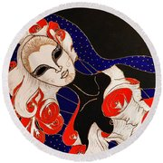 Round Beach Towel featuring the painting Feminine Mystique by Rae Chichilnitsky