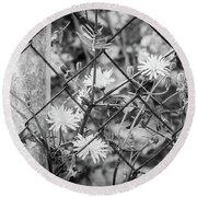 Fence And Flowers. Round Beach Towel