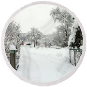 Fence And  Gate In Winter Round Beach Towel