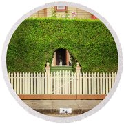 Fence, Hedge, Dog And Cat Round Beach Towel