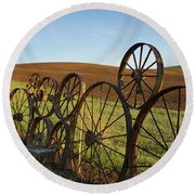 Fence Of Wheels Round Beach Towel