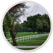 Fence On The Wooded Green Round Beach Towel