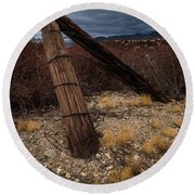Fence Post And Storm Round Beach Towel