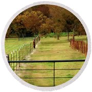 Round Beach Towel featuring the photograph Fence Way by Jerry Sodorff