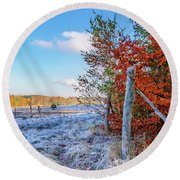 Round Beach Towel featuring the photograph Fenced Autumn by Dmytro Korol