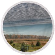 9017 - Fences, Firs And Fall Round Beach Towel