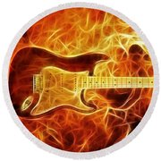 Fender Stratocaster Round Beach Towel by Taylan Apukovska