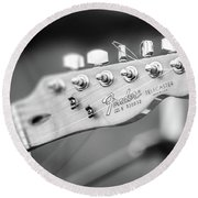 Fender Telecaster Monochrome - Detail Round Beach Towel