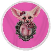 Round Beach Towel featuring the drawing Fennec Fox by Sheena Pike