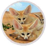 Fennec Foxes Round Beach Towel