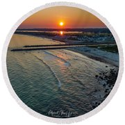 Round Beach Towel featuring the photograph Fenway Beach Sunset by Michael Hughes