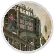 Fenway Park Billboard - Boston Red Sox Round Beach Towel