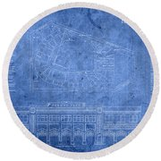 Fenway Park Blueprints Home Of Baseball Team Boston Red Sox On Worn Parchment Round Beach Towel
